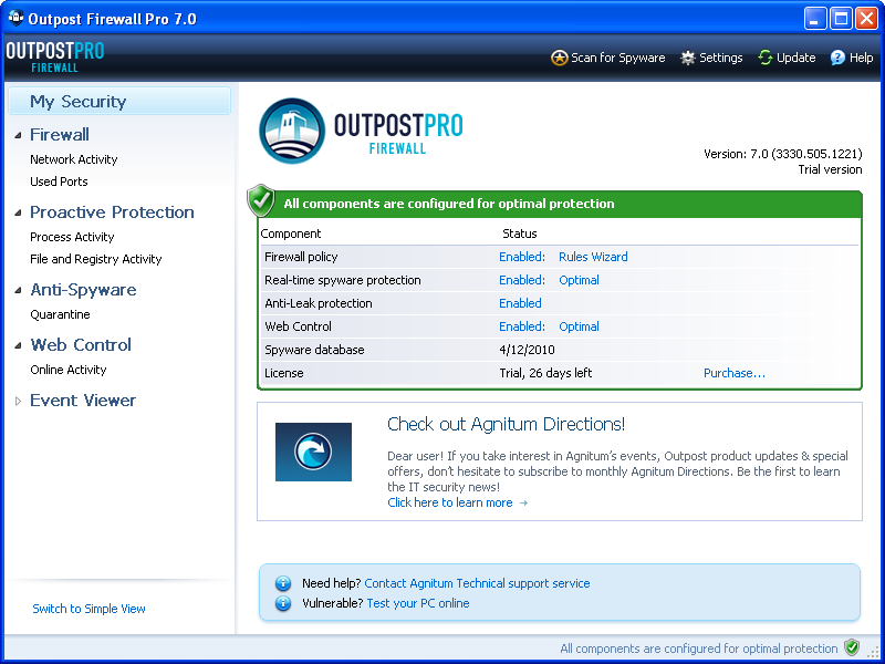 Outpost Firewall Pro 7.5.1
