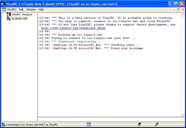 tinyIRC 1.0 Build 1099 Free