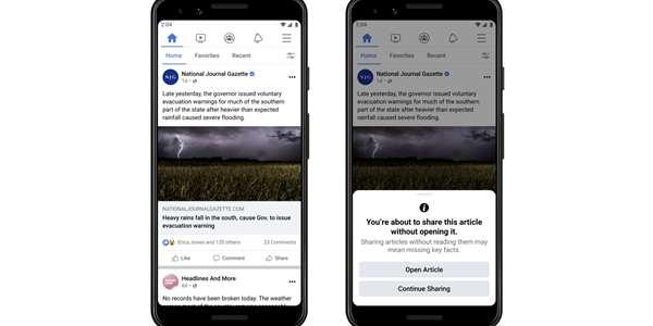 Pokud patříte mezi lidi, kteří rádi na Facebooku sdílejí všechno možné, hlavně zpravodajské texty, tak brzy začnete vídat nové vyskakovací okno, která vám vynadá, pokud jste obsah před jeho šířením neotevřeli.