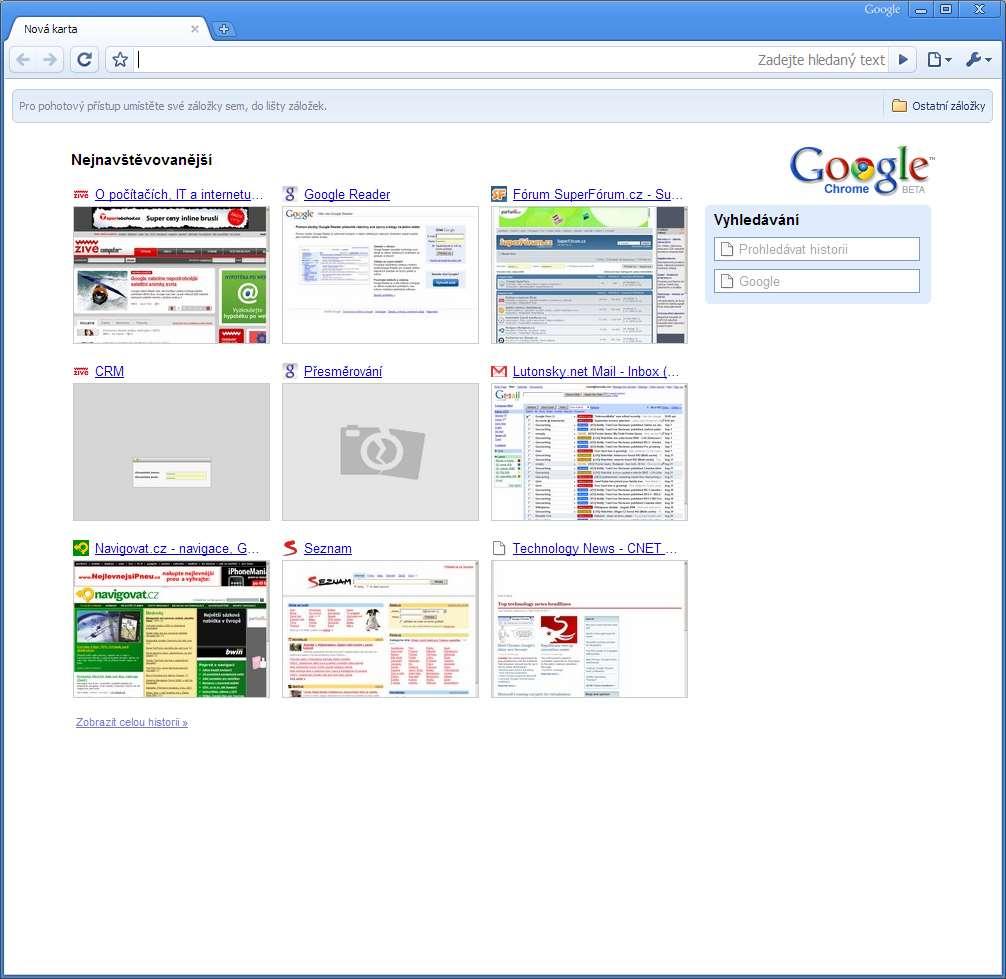 Galerie - Prohlížeč Google Chrome  první živé obrázky 66d7d9e399
